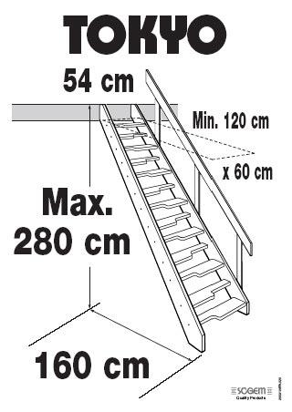 Vuren steek trap tokyo ruimtebesparend for Maten trap